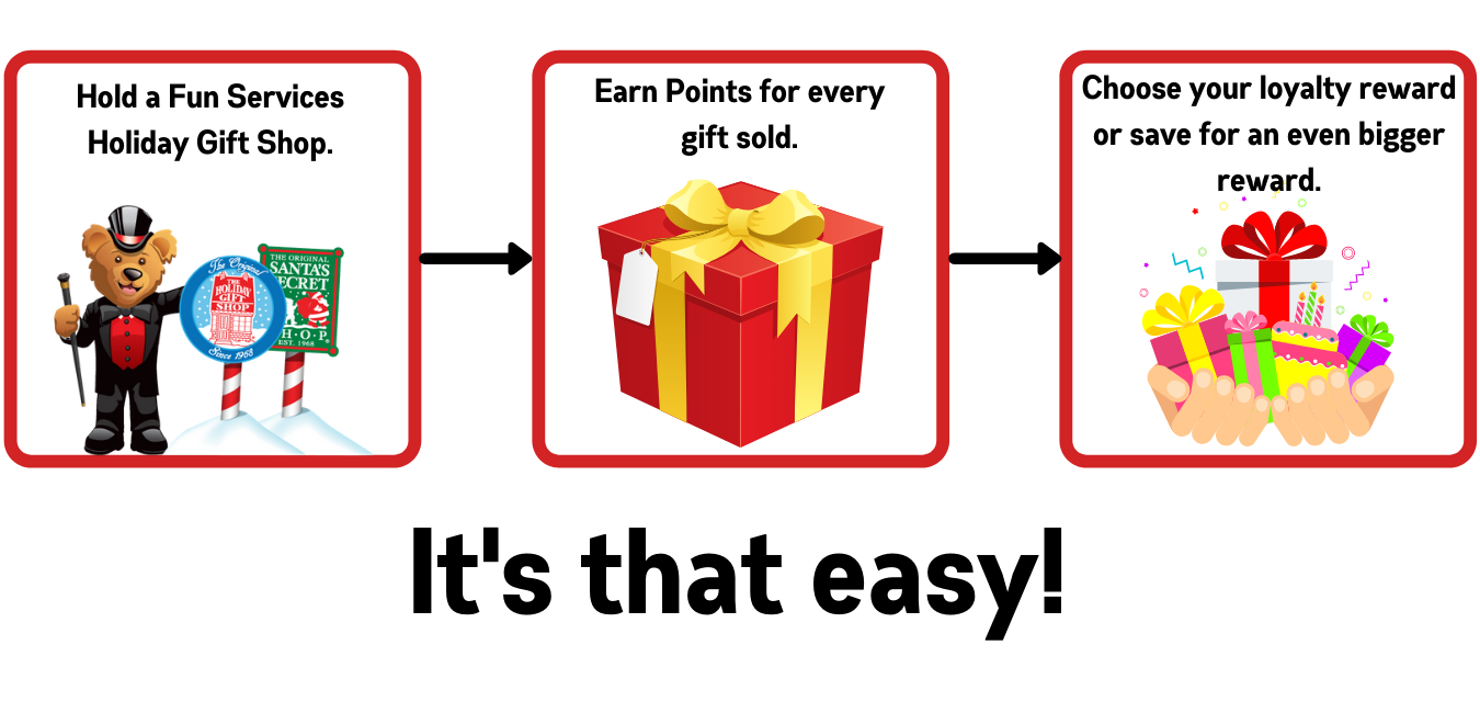 Hold a Fun Services Holiday Gift Shop. Earn Points for every gift sold. Choose your loyalty reward or sae for an even bigger reward.